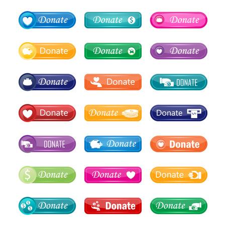 Photo pour Colorful website donate buttons design vector illustration glossy graphic label internet confirm template - image libre de droit
