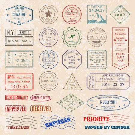 Illustration pour A Vector set vintage postage stamps from countries all over world  illustration. - image libre de droit