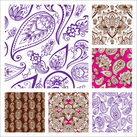 Illustration for Henna tattoo mehndi flower doodle ornamental decorative indian design seamless pattern paisley arabesque embellishment vector. - Royalty Free Image