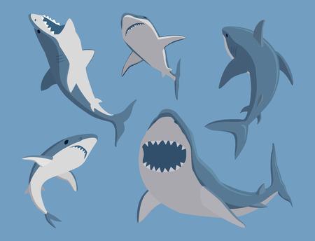 Ilustración de Vector illustration toothy swimming angry shark animal - Imagen libre de derechos