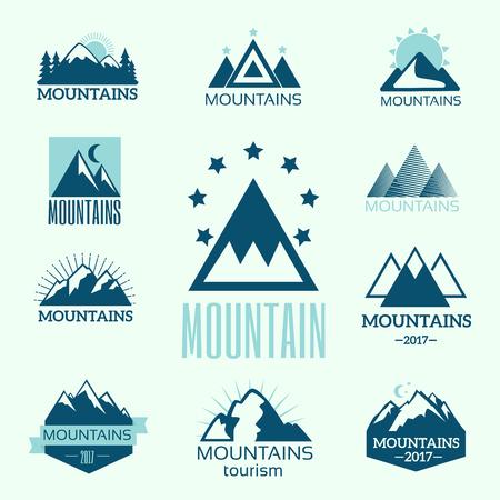 Illustration pour Vector set of mountain exploration vintage emblems and rock silhouette design elements - image libre de droit