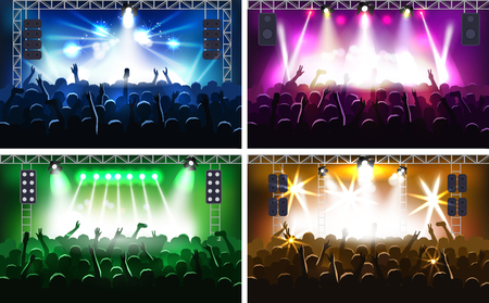 Illustrazione per Music festival or concert streaming stage scene with lights fanzone vector illustration party human hands silhouette - Immagini Royalty Free