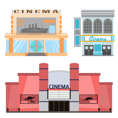 Ilustración de Cinema building vector illustration facade movie entertainment city house architecture theater exterior. - Imagen libre de derechos