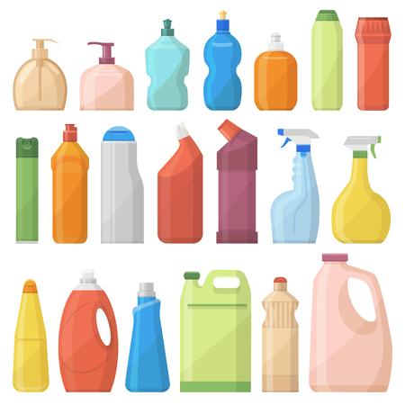 Illustration pour Household chemicals bottles pack cleaning housework liquid domestic fluid cleaner template vector illustration. - image libre de droit