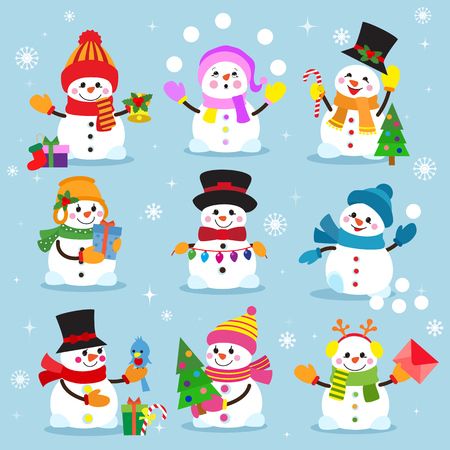 Illustration for Snowman cartoon winter christmas character holiday merry xmas snow boys and girls vector illustration. - Royalty Free Image