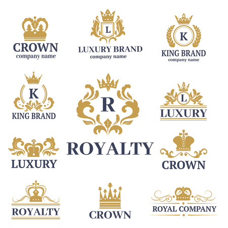 Illustration for Crown king vintage premium white badge heraldic ornament luxury kingdomsign vector illustration. - Royalty Free Image