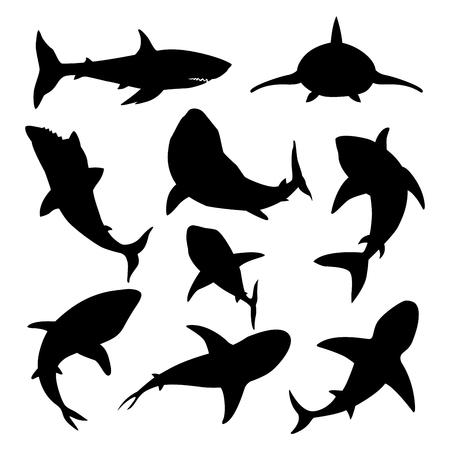 Ilustración de Vector illustration toothy swimming angry shark animal sea fish character underwater cute marine wildlife mascot black silhouette. - Imagen libre de derechos