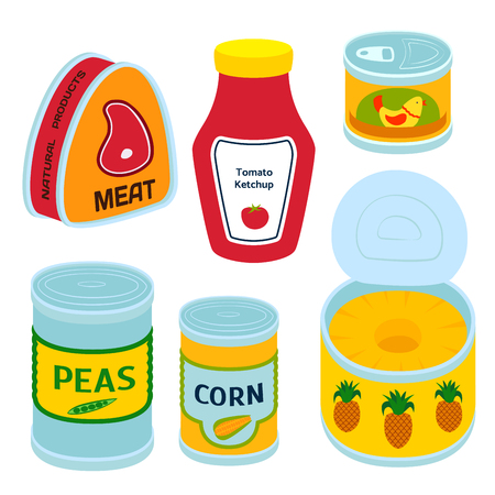 Illustration for Collection of various tins canned goods. - Royalty Free Image