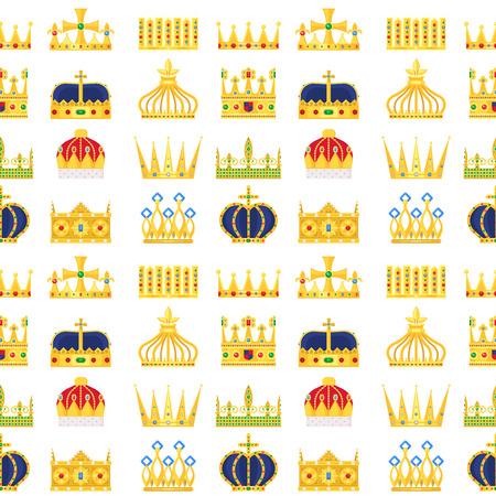 Illustration for Crown king vintage premium pattern. - Royalty Free Image