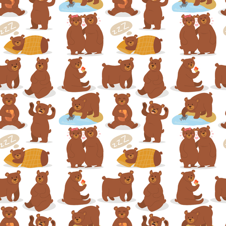 Illustration pour Cartoon bear character teddy pose vector seamless pattern background wild grizzly cute illustration adorable animal design. - image libre de droit