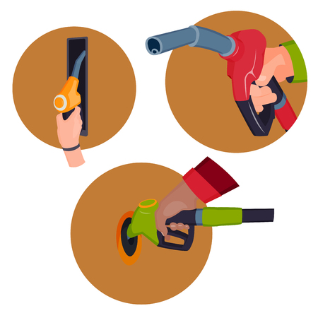 Illustration pour Filling gasoline station pistol in people hands refinery refueling petroleum tank service tool vector illustration - image libre de droit