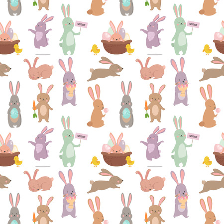Illustration pour Easter rabbit character bunny seamless pattern background vector cute happy animal illustration. - image libre de droit