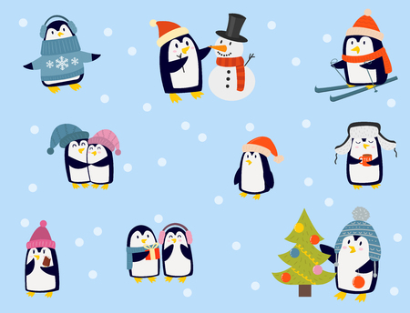 Illustration pour Penguin christmas vector illustration character cartoon funny cute animal antarctica polar beak pole winter bird. - image libre de droit