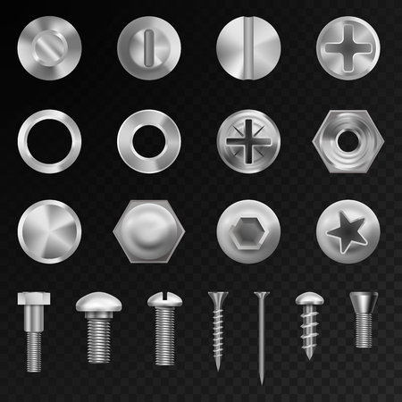 Illustration pour Screw vector steel bolts nuts and metal rivet screwing head bolts construction elements isolated illustration - image libre de droit