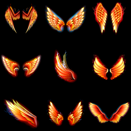 Illustration for Fire wings phoenix vector on black background - Royalty Free Image