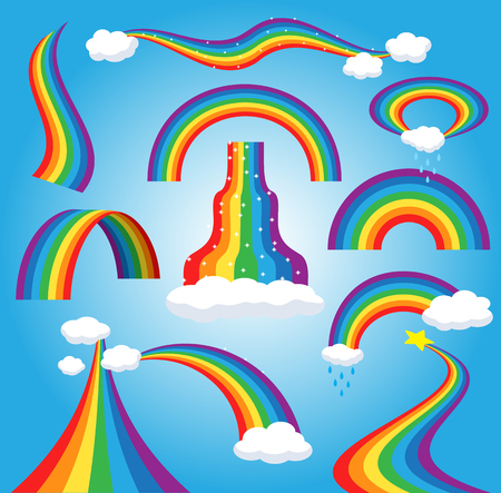 Illustration pour Rainbow vector colorful bowed arc in raining sky multicolored cartoon arch or bow spectrum of colors with rainy clouds illustration isolated on blue background. - image libre de droit
