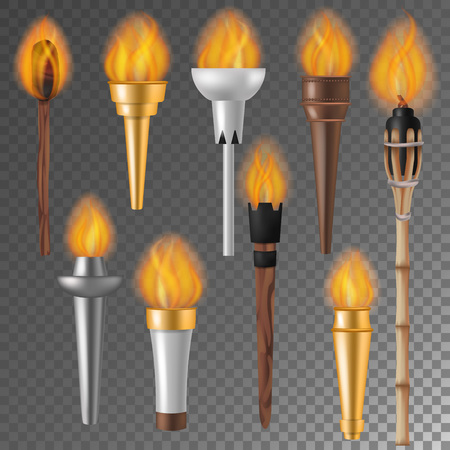 Ilustración de Torch flame vector flaming torchlight or lighting flambeau symbol of achievement torching with burned fireflame 3d realistic illustration isolated on background - Imagen libre de derechos