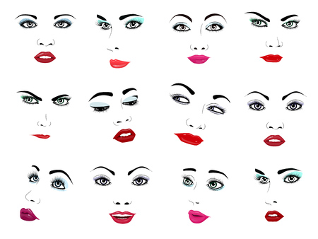 Ilustración de Woman face vector portrait female facial or girls beauty fashion faced care and beautiful women facing with makeup illustration isolated on white background. - Imagen libre de derechos