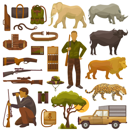 Ilustración de Hunt safari vector hunter man character in Africa with hunting ammunition or hunters equipment rifle shooting and African animals lion elephant wildlife set illustration isolated on white background. - Imagen libre de derechos