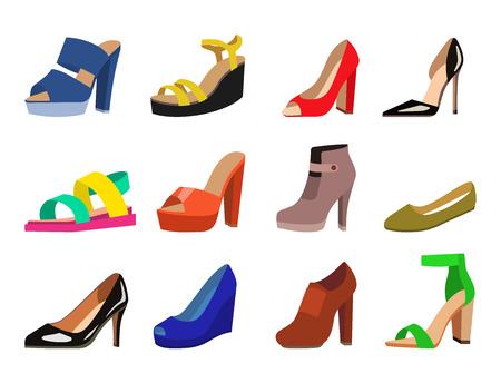 Ilustración de Womens shoes vector flat fashion design collection of leather colored moccasins shoes sandals illustration - Imagen libre de derechos