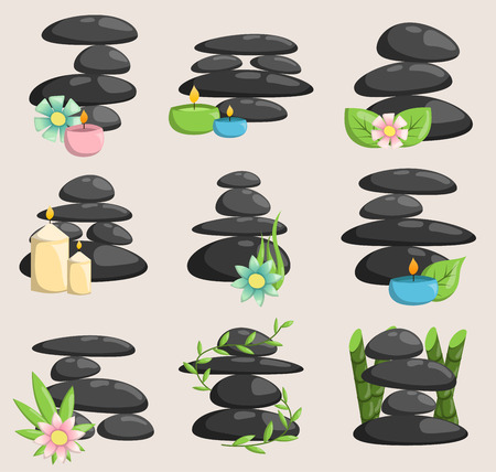 Ilustración de Spa stones isolated vector and relaxation isolated. Stones stack isolated pebble concept therapy, heap spa stones beauty tranquil relax. - Imagen libre de derechos
