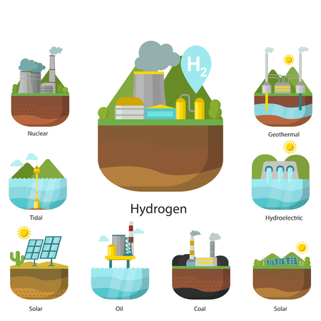 Ilustración de Generation energy types power plant vector renewable alternative source solar and tidal, wind and geothermal, biomass and wave illustration. - Imagen libre de derechos