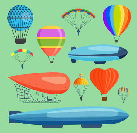 Illustration pour Various air balloon illustration with heart shaped balloon and blimp - image libre de droit