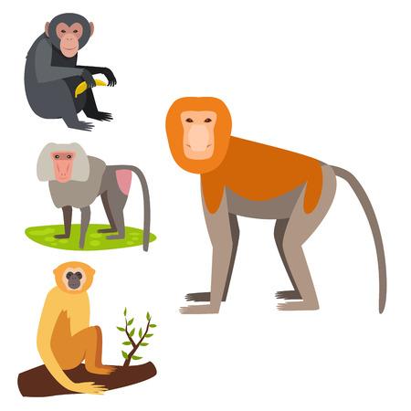 Illustration pour Monkey character vector illustration set. - image libre de droit