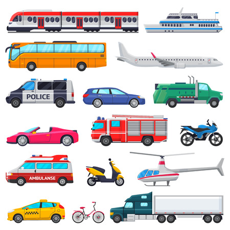 Illustration pour Transport vector public transportable vehicle plane or train and car or bicycle for transportation in city illustration set of ambulance fire-engine and police car isolated on white background - image libre de droit
