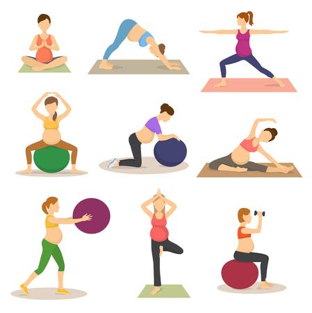 Ilustración de Fitness routine for pregnant woman vector illustration - Imagen libre de derechos