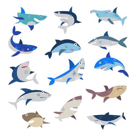 Ilustración de Shark vector cartoon seafish with sharp teeth in jaw illustration set of attacking fishery character in ocean isolated on white background - Imagen libre de derechos