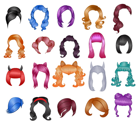 Ilustración de Woman hairstyle wigs vector halloween haircut and female fake hair style or bobwig illustration hairdressing or haircutting with coloration for carnival isolated on white background - Imagen libre de derechos