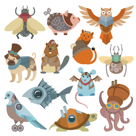 Illustration pour Animals steampunk vector animalistic characters in steam punk and industrial style illustration. - image libre de droit