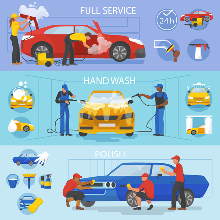 Illustration for Car wash vector car-washing service with people cleaning auto or vehicle illustration. - Royalty Free Image