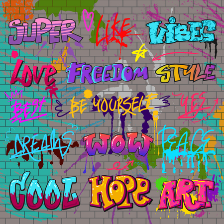 Illustration pour Graffiti vector graffito of brushstroke lettering or graphic grunge typography illustration set of street text with love freedom. Isolated on brick wall background. - image libre de droit