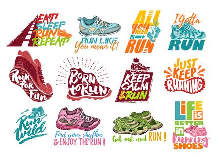 Ilustración de Set of running shoes with motivational quotes. - Imagen libre de derechos