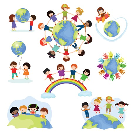 Illustration pour Children world vector happy kids on planet earth in peace and worldwide earthly friendship illustration peaceful childish set of boys or girls together isolated on white background - image libre de droit