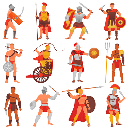Illustration for Gladiator vector roman warrior character in armor with sword or weapon and shield in ancient Rome illustration set of greek man warrio fighting in war isolated on white background - Royalty Free Image