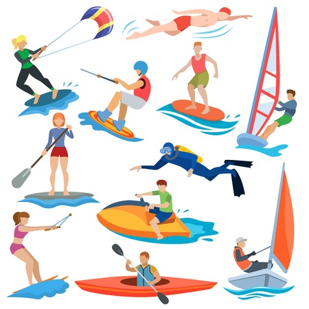 Ilustración de Water sport vector people in extreme activity or windsurfer and kite surfer illustration - Imagen libre de derechos