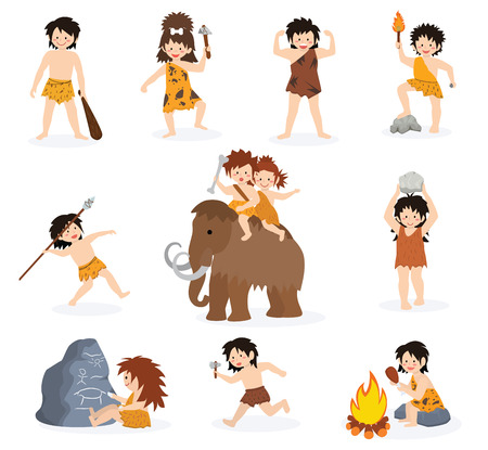 Ilustración de Caveman kids vector primitive children character and prehistoric child with stoned weapon on mammoth illustration. Set of ancient boy or girl in stone age isolated on white background. - Imagen libre de derechos