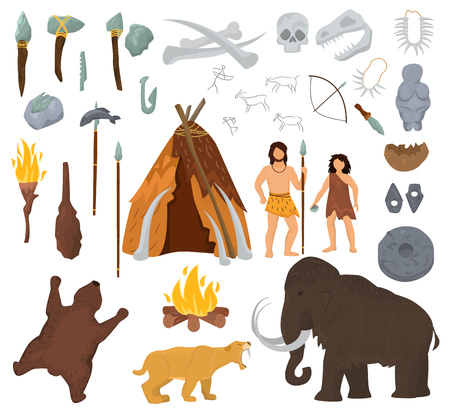 Ilustración de Primitive people vector mammoth and ancient caveman character in stone age cave illustration. Prehistoric man with stoned weapon and flame set. - Imagen libre de derechos