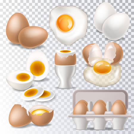 Illustration for Egg vector healthy food eggwhite or yolk in egg-cup for breakfast illustration set of eggshell or egg shaped ingredients isolated on white background - Royalty Free Image