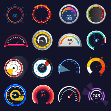 Illustration pour Speedometer vector car speed dashboard panel and speed-up power measurement illustration set of speed-limit control technology gauge with arrow or pointer isolated on background - image libre de droit