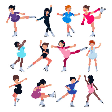 Illustration pour Figure skating vector girl character skates on competition and professional girlie skater illustration set of kids athlete training or dancing on ice isolated on white background - image libre de droit