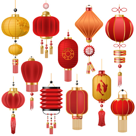Illustrazione per Chinese lantern vector traditional red lantern-light and oriental decoration of china culture for asian celebration illustration set of festival decor light isolated on white background - Immagini Royalty Free