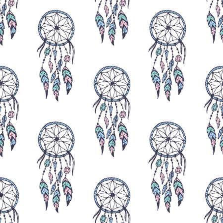 Illustration pour Creative vector boho style frames mady ethnic feathers arrows and floral elements seamless pattern background illustration. - image libre de droit