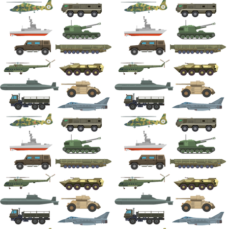Illustration pour Military transport vector vehicle technic army war tanks and industry armor defense transportation weapon seamless pattern background illustration. - image libre de droit