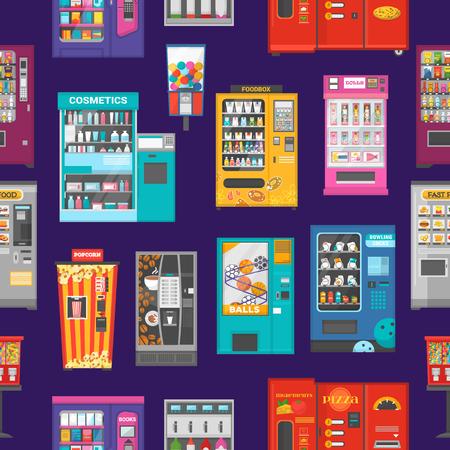 Ilustración de Vending machine vector vend food or beverages and vendor machinery technology to buy snack or drinks illustration set seamless pattern background. - Imagen libre de derechos