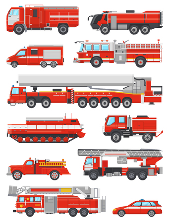 Illustrazione per Fire engine vector firefighting emergency vehicle or red firetruck with firehose and ladder illustration set of firefighters car or fire-engine transport isolated on white background. - Immagini Royalty Free