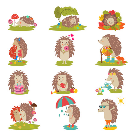 Ilustración de Hedgehog vector cartoon prickly animal character child with love heart in nature wildlife illustration set of hedgehog-tenrec sleeping or playing in forest isolated on white background. - Imagen libre de derechos